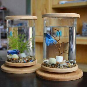 Quality Small Office Glass  Aquarium Bamboo Base Mini Fish Tank Cute Fish Bowl