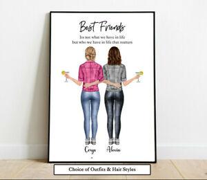 Personalised Best Friends Sisters Word Art Picture Print Poster Keepsake Gift