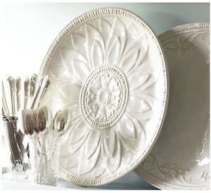 NEW Pottery Barn Embossed Juliette Serving Platter Tray White Ivory Round Circle