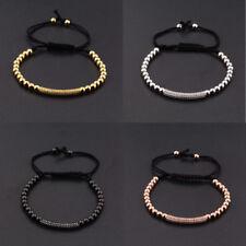 2017 New Fashion 18K Plated Beads White Zircon Hand Braided Men Charm Bracelets