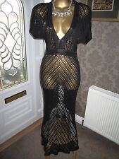 Zara Black Crochet Maxi Dress Size Medium