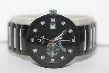 Bulova Black/ Silver Diamond Accented Stainless Quartz Watch C9671587 98D109