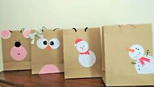 Craft Paper Decorated  Bag Charismas Gift Parties Event 12Pc
