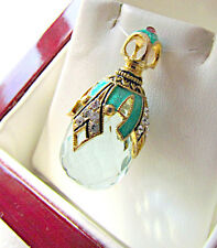 GORGEOUS RUSSIAN SOLID STERLING SILVER 925 & 24K GOLD AQUAMARINE EGG PENDANT