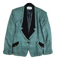 Lilli Ann Womens Vintage Blazer Jacket Green Black Gold Shimmer Houndstooth