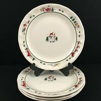 Set of 4 VTG Dinner Plates by Pfaltzgraff Christmas Village Christmas Holiday