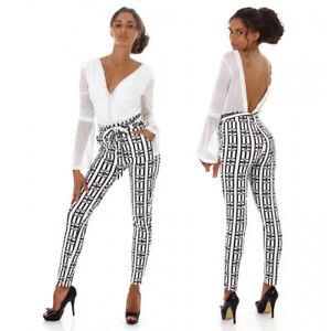 Pantaloni donna vita alta eleganti fantasia bianchi neri sportivi aderenti da
