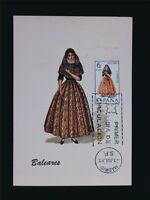 SPANIEN MK 1967 TRACHTEN BALEARES COSTUMES MAXIMUMKARTE MAXIMUM CARD MC CM c5484