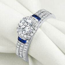 Round Cz Blue 925 Sterling Silver 7# 3pcs Wedding Engagement Ring Set For Women