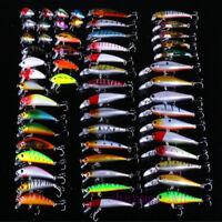 56pcs Lot Mixed Minnow Fishing Lures Bass Baits Crankbaits Fish Hooks Tackle DIY