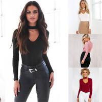 Choker Bodysuit High Long Sleeve Neck Top Basic Ladies Stretch Leotard Womens