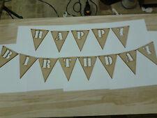 Laser Cut Wooden HAPPY BIRTHDAY Pendant Banner 3mm MDF Crafts