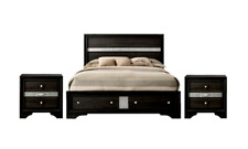 NEW Queen Black Silver Storage 3PC Bedroom Modern Furniture Bed & 2 Nightstands