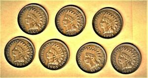1901 thru 1907 Indian Head cent lot in E.F. condition {Nicely matched short set)