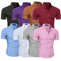 Luxury Men's Slim Fit Shirt Short Sleeve Stylish Formal Casual T-shirt Top Shirt