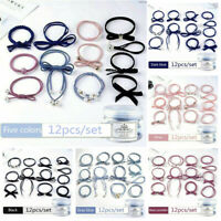 12Pcs Women Ribbon Bowknot Hair Ropes Rubber Hair Ties Bow Elastic Hair Bands