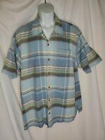 Tommy Bahama Blue Gray  Plaid Casual Short Sleeve Button Shirt Men's XL Silk euc