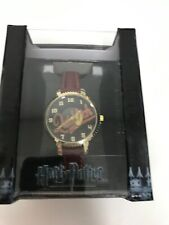 New Harry Potter Quidditch Golden Snitch Burgundy Faux Leather Band Watch in Box