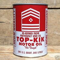 Original Vintage TOPKIK MOTOR OIL Quart Display Can 1960s Unused CAR Automobile