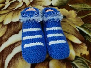 SALE! Womens Hand Knitted Blue Slippers Socks, Cozy Boots, Indoor Shoes Handmade
