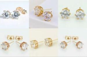 "9K 9ct ""Gold Filled"" C/z Stones 4mm,5mm,7mm,8mm,10mm Stud Earrings Xmas Gift"
