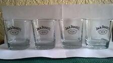 Jack Daniel's Square Low Ball Glasses Set of 4 Bottom Embossed