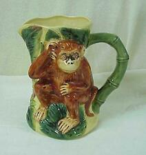 Tropical Theme Majolica Style Brown Monkey Green Bamboo Large Pitcher Near 64 Oz