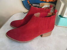 Free People Jeffrey Campbell red suede Monroe Chelsea Ankle Boots size 7