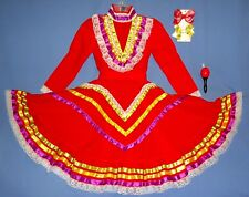MEXICAN DRESS GIRLS 4-5-6 FOLKLORICO JALISCO CINCO DE MAYO HAIR BOWS MARACA LOT