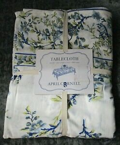 """April Cornell Cotton Blue & Yellow Floral & Bird Tablecloth 60"""" x 120"""" NEW"""