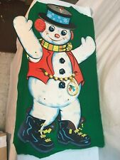 Vtg Die-Cut Beistle Snowman Movable Arms, Legs Christmas Decorations 29in tall