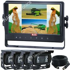 """9"""" Quad Two Camera Kit With Quad Monitor Four CCD Waterproof Backup Cameras"""
