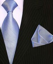 Binder de Luxe Krawatten Set Krawatte Einstecktuch hell blau feines Muster 136