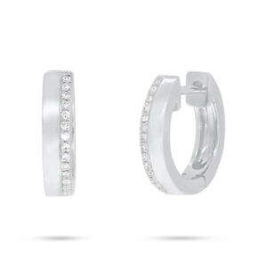 0.08 CT 14K White Gold Natural Round Cut Real Diamond Huggie Hoops Earrings
