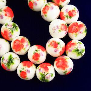 20Pcs 12mm Red Green Ceramic Porcelain Flower Round Ball Pendant Bead AN-665