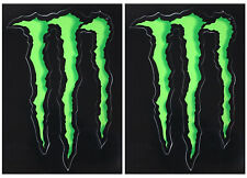 2 X Monster Energy Green Claw Vinyle Autocollants (env. 4.5') F1 MOTOGP