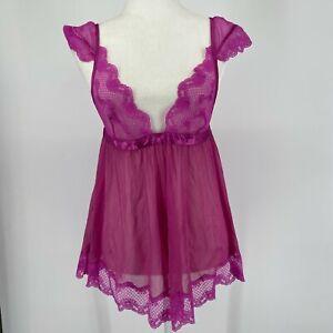 Fredericks of Hollywood Sheer Nightgown Womens Medium M Purple Nightie Negligee