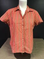Womens Size Large Fashion Bug Stretch Striped Button Front Short Sleeve Shirt