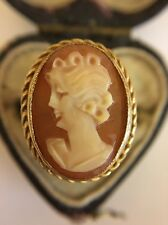 Antique Victorian Unusual Large Size Cameo Yellow Gold Ring Maiden Ornate