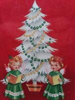 1950s Vtg Angel GIRLS w/ White CHRISTMAS Tree Red Flocked GREETING CARD