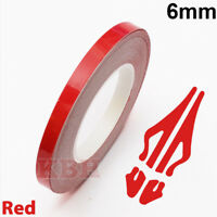 "6mm Self Adhesive Coachline Pin Stripe Vinyl Tape Craft Decal Sticker 1/4"" RED"