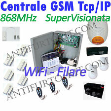Kit Antifurto TCP IP Wireless Sirena Filare AMC Centrale Allarme 868Mhz Casa GSM