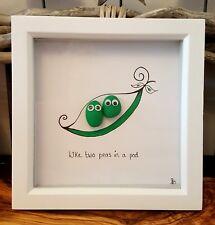 15cm Ha Pea pebble art picture. Two peas in a pod