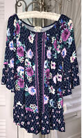 NEW Plus Size 3X Navy Blue Purple Pink Floral Blouse Shirt Peasant Top