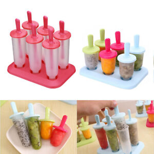 6 Cavity Ice Lolly Cream Maker Mold DIY Popsicle Mould Frozen Yogurt Icebox