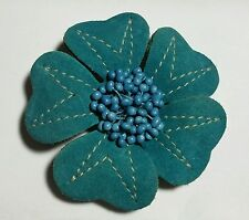 Leather flower brooch,teal blue w/white stich, printed paper pollen, handmade