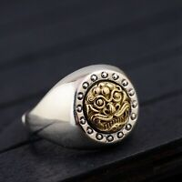 Solid 925 Sterling Silver Mens Heavy Ancient Tiger Signet Ring Adjustable Size