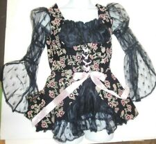 Ladies Pirate Wench Costume Lacy Zipper Back Black Gold Flocked LARGE