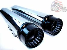 "Chrome 4"" Slip-on Mufflers Exhaust Pipes Black Contrast Cut Tips Harley Touring"