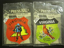 2 VINTAGE 1970's ORIGINAL VIRGINIA SHIELD STICKERS- CARDINAL AND OLD DOMINION